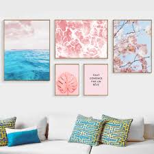 <b>Gohipang Blue Sea</b> Leaves Flowers Canvas Painting Posters And ...