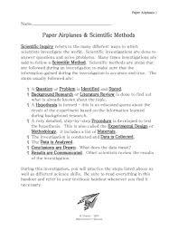 scientific method essay paper airplanes and scientific methods th   th grade worksheet  paper airplanes and scientific essay format