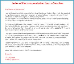 Teacher Recommendation Letter 20 Samples Fromats