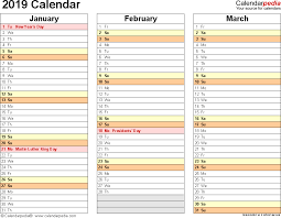 2019 Calendar Printable By Month 2019 Calendar 17 Free Printable Word Calendar Templates