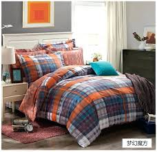 dreaming blue grey black orange plaids bedding set cotton comforter cover bed sheet sets free and view in gallery orange and blue bedding