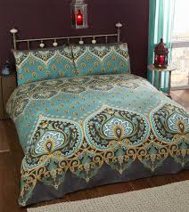 single bed duvet cover set asha emerald green gold black moroccan style bedding 5027491169745