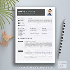 creative resume template cover letter word modern simple professional resume template cv template 1 2 and 3 page resume