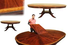 custom 72 inch round to 100 inch oval inlaid mahogany dining table