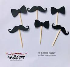 Black Tie Theme Details About Moustache Mo Bow Tie Cupcake Toppers Picks Black Little Man Hipster Theme Party