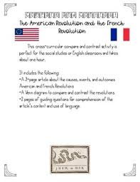 Compare American And French Revolution Venn Diagram Compare And Contrast American And French Revolution