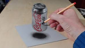 anamorphic illusion drawing 3d levitating coca cola can time lapse mindbenders