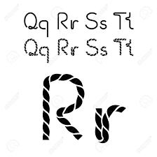 ベクトルひもフォント文字アルファベット 簡単なロープ文字 Qqrsstt イラスト