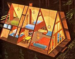 Beginning in the late 1950s the A-frame style of home architecture became  popular in
