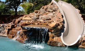 backyard pool with slides. Top Three Ideas About The Backyard Pool Slides For Home Backyard Pool With Slides
