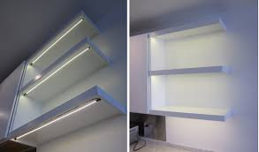 under the shelf customizable led strips by inspired led simply stick on and plug in