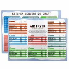 Air Fryer Cooking Time Kitchen Chart Magnets Cheat Sheet Chart Recipes Measure Ebay