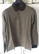 gucci polo. gucci mens polo shirt gg longsleeve brown t-shirt s m l xl xxl