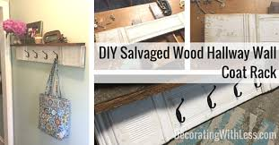 Coat Rack Diy Salvaged Wood Hallway Wall Coat Rack 50
