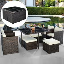 9pc rattan garden home furniture dining table chairs set patio wicker sofa brown