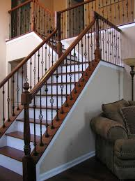 Stairs, Cool Metal Railings For Stairs Wrought Iron Stair Railings Interior  Brown Woods And Black