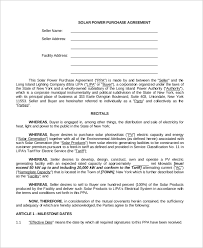 Purchase Agreement Samples Sample Power Purchase Agreement 10 Examples In Word Pdf