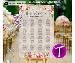 Boho Seating Chart Template Floral Seating Chart Template 31