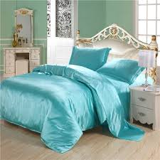 luxury turquoise quilt silk comforter set duvet cover 4pc plus size solid blue silk sets twin