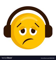 Sad Emoji With Headphones Icon