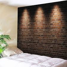 Brick wall lighting Garden Wall Hanging Art Decor Light Brick Wall Print Tapestry Brickred W91 Inch Spiritual Quest Salt Lamps Decorative Accents Brickred W91 Inch L71 Inch Wall Hanging Art