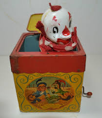 jack in the box toy. vintage 1950 mattel musical clown jack in the box toy. #mattel toy