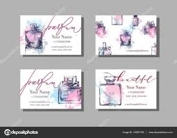 makeup artist business card vector template with beautiful perfume bottle fashion and beauty background