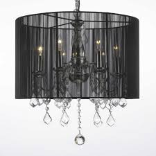 empress crystal 5 light chrome chandelier with black shade