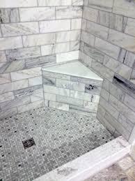 gray green tile shower seat