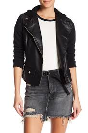 image of bnci by blanc noir hooded faux leather moto jacket