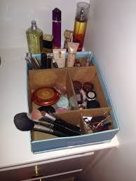 DIY makeup organizer idea I had that worked for me! shoe box, cardboard,