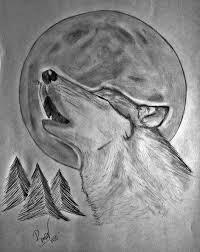 resultado de imagen para lobos aullando dibujos a lapiz