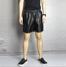 details about mens faux leather short pants causal summer mid waist trousers black fashion new