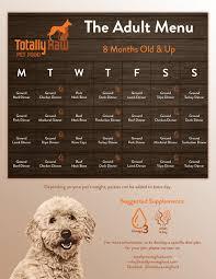 Raw Feeding Chart For Puppies Sample Menu Totally Raw