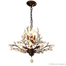 american country style led chandelier light fixtures iron crystal pendant lights 4 3 heads black bronze chandeliers indoor home decor chandelier lights