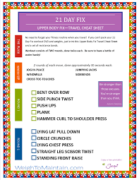 21 Day Fix Upper Body Fix Workout Pdf A Travel Cheat Sheet