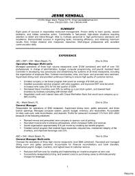 Restaurant General Manager Resume Restaurant General Manager Resume For 100 100a Summary Example Of 13