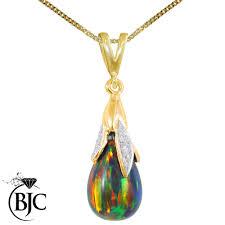 details about bjc 9ct yellow gold black opal diamond briolette drop pendant necklace