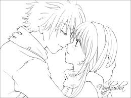 Anime Coloring Pages Easy Kiss Free Fun For Kids