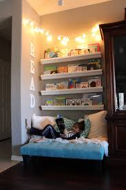 reading nook for kids with book shelves