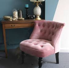 Nice Dusky Pink Velvet Button Back Bedroom Chair