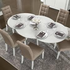 caligula white high gloss glass round 5 piece extending dining table set