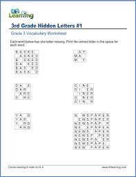 Grade 3 vocabulary worksheet - write missing letters in words | K5 ...