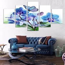 framework canvas painting wall art 5 panel blue orchid flower abstract decorative modular picturesfor living room on blue orchid canvas wall art with framework canvas painting wall art 5 panel blue orchid flower