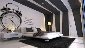 cool bedroom design black. Ideas » Lovely Image Of Black And White Cool Pictures Decoration Using Bedroom Wall Paint Including Large Alarm Clock Design O