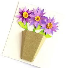 Paper Flower Bouquet In Vase 3d Flower Bouquet Card Paper Flower Diy Card Moms And
