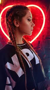 Brown hair girl, braids, neon lights ...