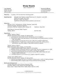 Elementary Education Resume Elementary Teacher Resume Elementary