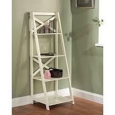 image ladder bookshelf design simple furniture. Antique White 4-tiered Shelf Ladder Bookcase Varying Shelves. Simple In Design Image Bookshelf Furniture O