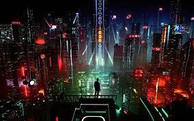Sci-Fi Night City Cityscape Buildings ...